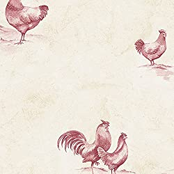 Manhattan Comfort NWKE29931 Winchester Rooster Toile Textured Wallpaper, Red