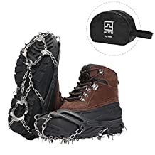 DAS Leben Crampons /Ice Grippers Traction Cleats Snow Grips Ice Creepers,Anti Slip 18 Stainless Steel Microspikes Crampons with 1 Free Portable Case for Men Women Climbing