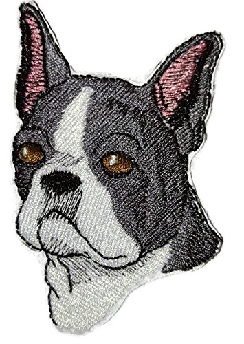 Amazing Custom Dog Face Portraits [Boston Terrier ] Embroidery Iron On/Sew patch [3