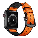 OUHENG Compatible with Apple Watch Band 42mm 44mm, Sweatproof Genuine Leather and Rubber Hybrid Band Strap Compatible with iWatch Series 4 Series 3 Series 2 Series 1 Sport Edition, Orange