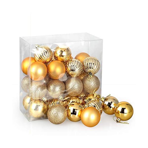 himaly 32 Pezzi Tradizionale Rosso e Oro Accessori per la Decorazione Palle di Natale Anti Goccia con Imbracatura,Adatto per Natale, Matrimonio, Fidanzamento, Anniversario, Festa 2 spesavip