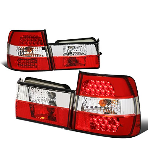 For 1989-1995 BMW 5-Series M5 E34 Pair Red/Clear Lens LED Tail Light Brake/Reverse Lamps ()