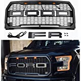 Seven Sparta Front Grill for Ford F150 2015 2016 2017, Including XL, XLT, LARIAT, King Ranch, Platinum and Limited, Amber LED Lights included, Raptor Style Grill Gray
