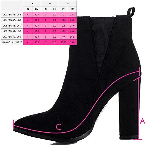 Spylovebuy RADIANT Damen Blockabsatz Chelsea Boots Stiefeletten Schwarz - Synthetik Wildleder