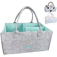 Baby Diaper Caddy Organizer - Baby Shower Gift Basket For Boys Girls | Diaper Tote Bag | Nursery Storage Bin for Changing Table | Newborn Registry Must Haves | Portable Car Travel Organizer (Aqua)