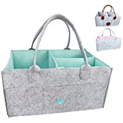 Baby Diaper Caddy Organizer - Baby Shower Gift Basket for Boys Girls | Diaper Tote Bag | Nursery Storage Bin for Changing Table | Newborn Registry Must Haves | Portable Car Travel Organizer (Blue)