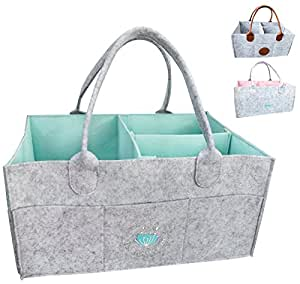 Baby Diaper Caddy Organizer - Nursery Storage Bin Changing Table   Baby Shower Gifts Basket for Boys Girls   Large Portable Car Organizer for Wipes Toy   Newborn Registry Must Haves (Blue)