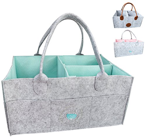 Baby Diaper Caddy Organizer - Baby Shower Gift Basket For Boys Girls | Diaper Tote Bag | Nursery Storage Bin for Changing Table | Newborn Registry Must Haves | Portable Car Travel Organizer (Aqua) ()