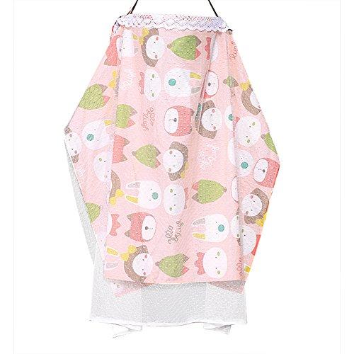 Pueri Nursing Cover Breastfeeding Nursing Towel Baby Outdoor Blanket Poncho Protective Gauze (Pink)