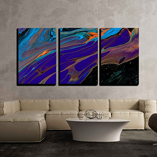 - wall26 - 3 Piece Canvas Wall Art - Closeup View of an Original Painting. Hand Painted Abstract Dark Cosmic Grunge Background - Modern Home Decor Stretched and Framed Ready to Hang - 16