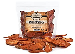 Sweet Potato Dog Treats- 1 lb Dehydrated North American All Natural Thick Cut Sweet Potato Slices, Grain Free, No Preservatives Added, Best High Anti-Oxidant Healthy Dog Chew by Brutus & Barnaby