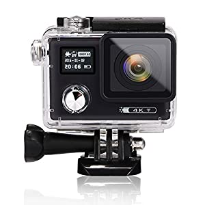 Ocama 4K HD WIFI Action Camera 16MP Dual Screen (2.0 inch + 0.66 inch) Waterproof Diving Camera with 170 Degree Wide Angle, 2 pcs Batteries and Free 19 Accessories Kit Black