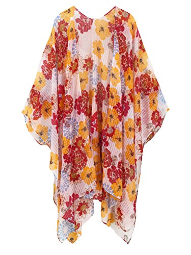 Plus Ups Size Cover (Moss Rose Women's Beach Cover up Swimsuit Kimono Cardigan with Bohemian Floral Print (Color29))