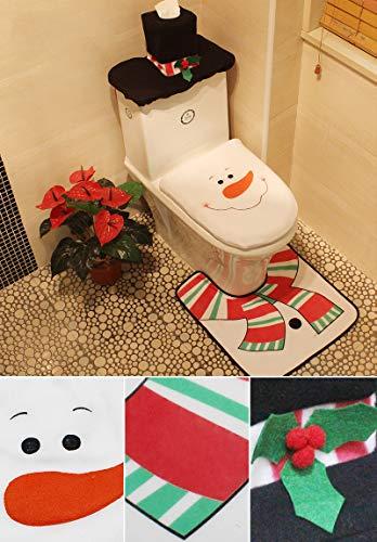 (Z-CGifthome Toilet Seat Cover for Christmas Decoration Toilet Cover Set for Bathroom Home Decor 3Pcs/Set,Toilet Seat Non-Slip Pedestal Rug + Lid (Snowman))
