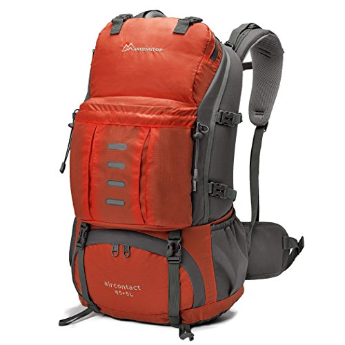 Mardingtop Water-Resistant Hiking Backpack with Rain Cover, Purplish Red