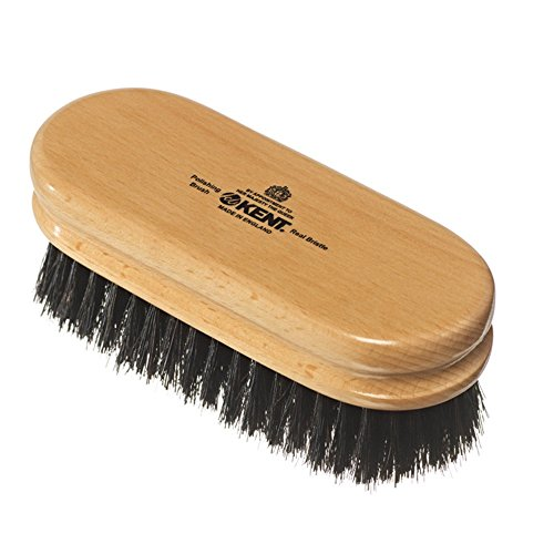 Kent - Shoe Cleaning Duo Applicator Brush, Perfect for Keeping Your Shoes Looking Brand New, Black and White Bristles ()