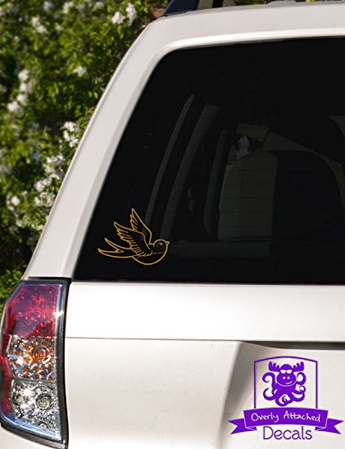 Overly Attached Decals Tattoo Swallow Vinyl Car Decal  4quot Gold Metallic