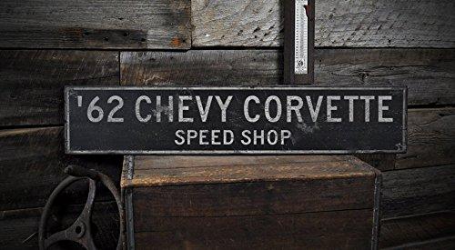 Corvette Gm Shop (Wooden 1962 62 CHEVY CORVETTE SPEED SHOP - Rustic Sign - 5.5 x 24 Inches)