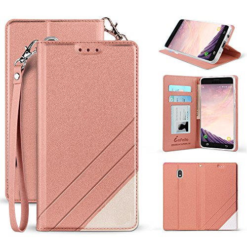 - for Samsung Galaxy 2018 J3 Orbit, SMJ337, J3 Achieve, J3 Emerge 2018, J3 Prime 2018, Amp Prime 3, Sol 3 PU Leather Two Tone Folio Credit Card Slot Wallet Case with Detachable Wrist Strap (Rose Gold)