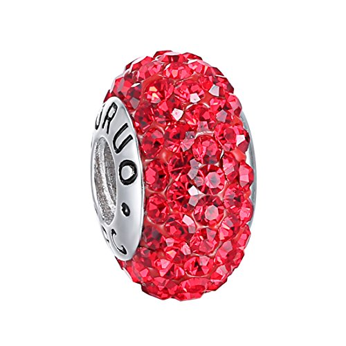Boruo Charms 925 Sterling Silver Czech Crystal Ruby Glass Ball Beads Spacers July Birthstone Threaded Core Charm Fit Pandora Bracelets. (Ruby Bracelet Slide)