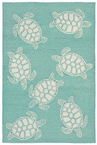 - Liora Manne CAP57163404 Capri Summer Coastal Ocean Sea Turtle Pattern Indoor/Outdoor Patio Waterproof Rug 5' X 7'6