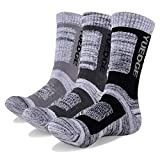 YUEDGE Men's 3Pairs Wicking Cushion Crew Cotton Outdoor Performance Hiking Trekking Running Walking