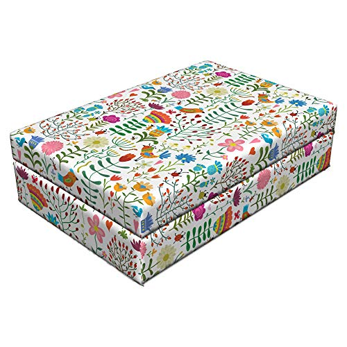 Lunarable Floral Pet Bed, Doodle Art Style Spring Garden Ornament with Flowers Beetle Ladybugs Birds Worms, Animal Mat Foam and Stylish Printed Cover, 24
