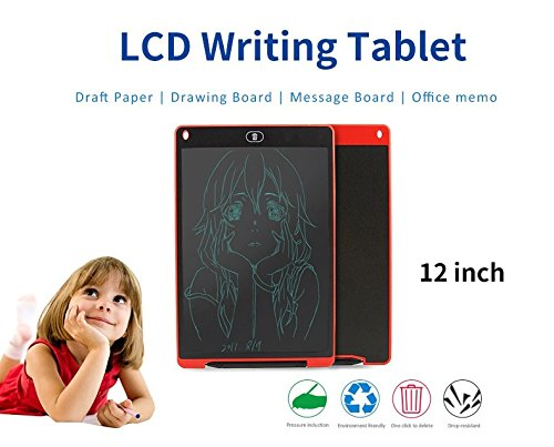 12 inches Writing Board, LCD Screen-lock Electronic Writing Board,Portable Handwriting Notepad/Tablet with stylus for Kids and Adults at Home, School and Work Office (black) by Generic