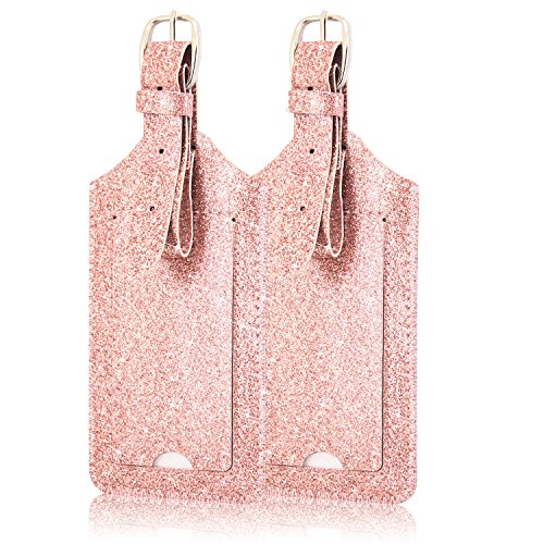[2 Pack]Luggage Tags, ACdream Leather Case Luggage Bag Tags Travel Tags 2 Pieces Set, Glitter Rose Gold ()