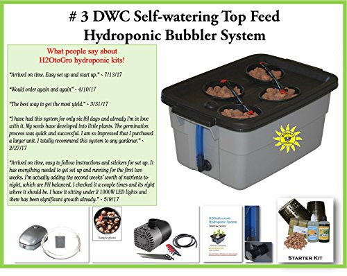 Hydroponic Growing system DWC SELF-WATERING Bubbler Kit # 3-4 H2OtoGro by H2OToGro