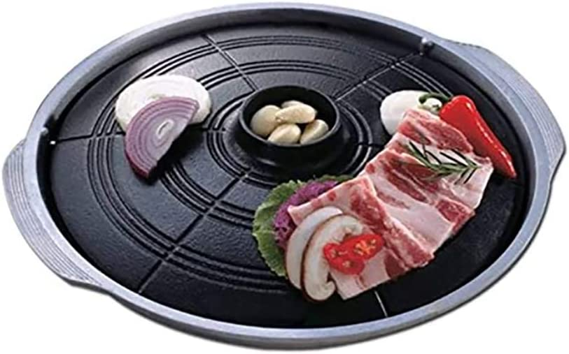 Easy Cooker Korean BBQ Multi Grill Plate, Cauldron Lid Shape, Tabletop Indoor/Outdoor Smokeless BBQ Grill Pan