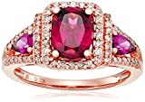 10k Pink Gold Rhodolite and Diamond 3-Stone Cushion Ring (1/3cttw, I-J Color, I3 Clarity), Size 7