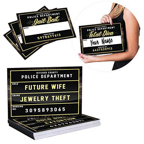 (Bachelorette Party Mugshot Signs Supplies - Hilarious Girls Night Out Photo Booth Props Decorations for Bridal Shower, Engagement Parties, Weddings & Bride Tribe - 40 Variations, 20 Reversible Signs)