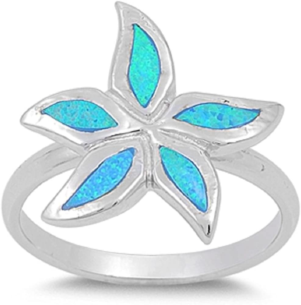 CloseoutWarehouse Starfish Blue Simulated Opal 925 Sterling Silver Size 8