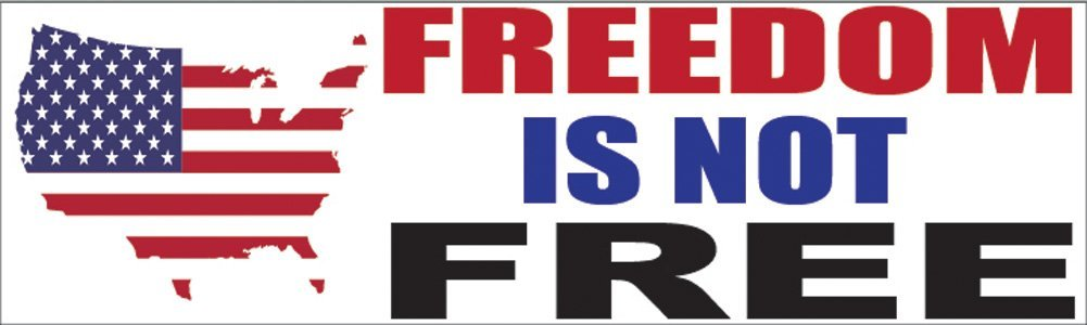 Rogue River Tactical 10x3 Patriotic Bumper Sticker Auto Decal Freedom is Not Free USA Flag America Freedom is Not Free Freedom is Not Free