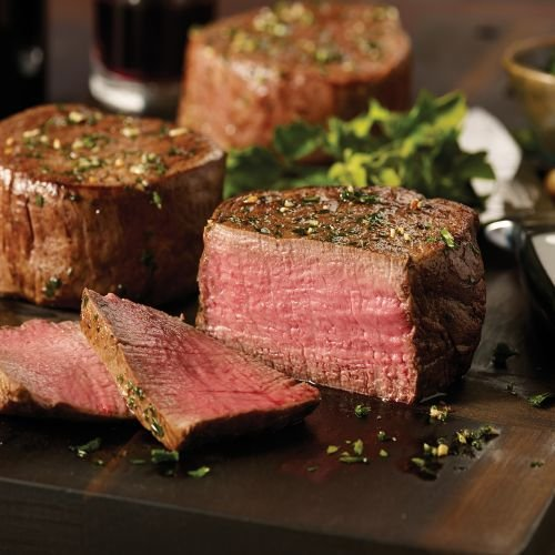 Omaha Steaks Family Value Combo Features Filet Mignon, Top Sirloins, Steak Burgers, Boneless Chicken Breasts, Jumbo Franks and Stuffed Baked Potatoes (Meat Steak)