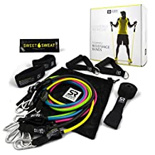 Sports Research Heavy Duty Exercise Resistance Bands - Set of 5 | Inlcudes FREE Sweet Sweat Sample, Door Anchor, Ankle Strap, Exercise Chart & and Carrying Bag