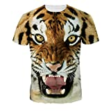 Wrathful Tiger Big Mouth T-shirt Loose Casual Tops Couples T-shirts , (XL=US L)