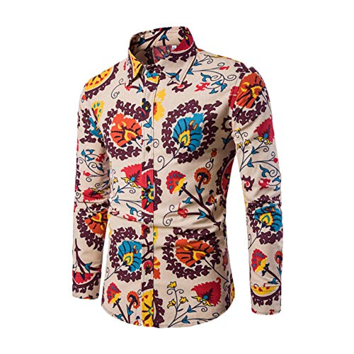 lisenraIn Men's Button Down Shirts Long Sleeve Slim Fit Cotton Floral Print Casual Shirt (Beige, XXXXXL)