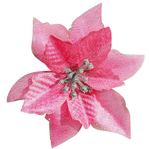 Mobuy Poinsettia Christmas Decorations Glitter Poinsettia Flowers for Christmas Tree Decorations(12Pack)(Pink)