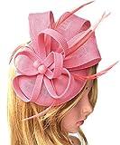 Biruil Women's Fascinator Hat Imitation Sinamay Feather Tea Party Pillbox Flower Derby (Pink)