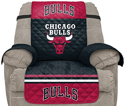 Pegasus Sports NBA Chicago Bulls Unisex Nbanba Furniture Protector with Elastic Straps, Red, Recliner (Chicago Bulls Drapes)