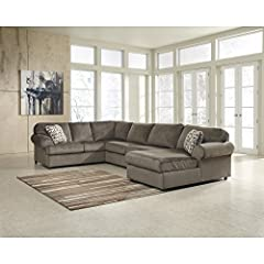 With the ample seating area of this comfortable sectional making sure that everyone has the best seat in the house, the stylish contemporary design of the ''Jesse Place-Dune'' upholstery collection features oversized set-back rolled arms alon...