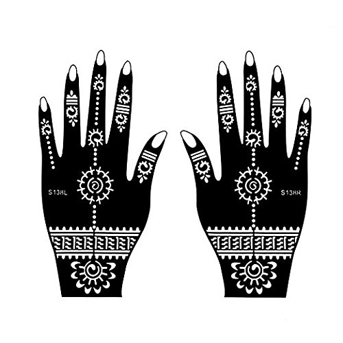 Henna Tattoo Stencil / Temporary Tattoo Temples Set of 8 Sheets,Indian Arabian Tattoo Reusable Stickers Stencils Body Art Designs for Hands (Vintage Collection) by Diva Woo (Image #5)