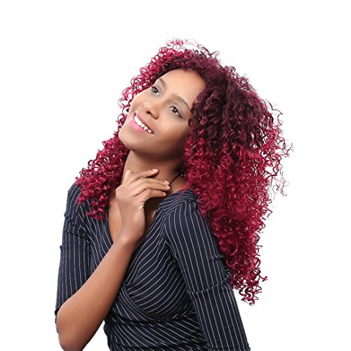 Clearance! Women Synthetic Curly Wigs Natural Hair Wigs Wavy Red Hair Wig Loose Deep Wave Heat Resistant Fiber Full Wig (45CM, Red)