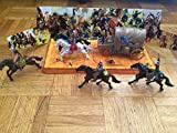 Wild Wild West Cowboys vs. Indians Action Figure Set- 12 Piece set with Horses and Wagon