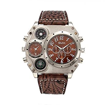 d2ebd1760 Image Unavailable. Image not available for. Color: Topwatch® Oulm New style  Analog Dark Brown Leather Strap Four Sub-dials Men Quatrz