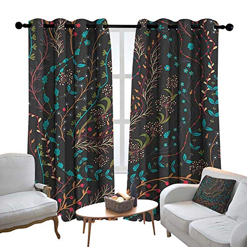 Blackout Curtains 2 Panels Floral,Colorful Herbs and Flowering Stems on Dark Backdrop Nature Coming Alive in Spring, Multicolor,for Room Darkening Panels for Living Room, Bedroom 84