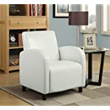 Monarch Specialties Leather-Look Accent Chair, White