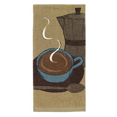 All-Clad Textiles 100-percent Cotton Fiber Reactive Cappuccino Print Kitchen Towel, 17-inch x 30-inch, Cappuccino Brown